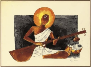 Brahmin playing on Veena